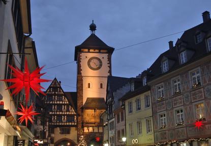 Schwabentor Weihnachtsmarkt Freiburg Breisgau Nacht